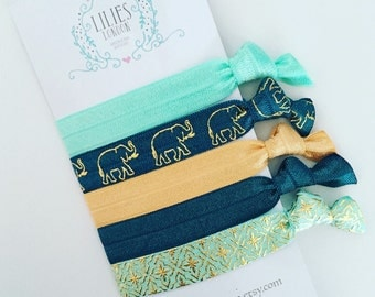 Teal and mint hair ties
