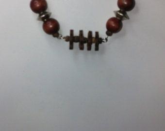 Men's wood bead necklace.