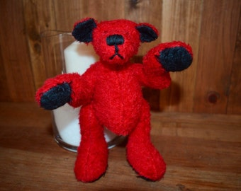 Rufus the red, OOAK 8 inch quality mohair bear
