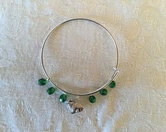 Ceramic Raccoon And Green Crystal Adjustable Silver Tone Wire Bracelet