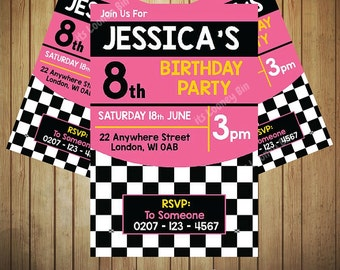 Car Racing Flag Style Invitation for girls Birthday Party | Pink Kids Party Invite