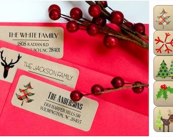 Address Themed Labels - Kraft 60 labels - Christmas Return Labels