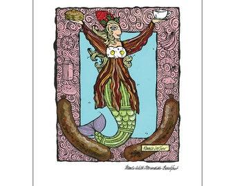 Art Print Meals With Mermaids - Breakfast Print 11 x 14 Kitchen Art