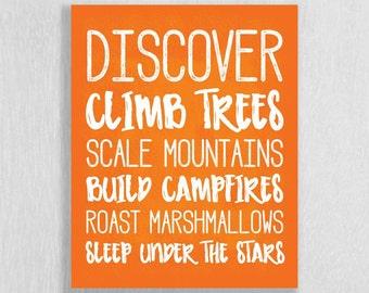 Camping Nursery Wall Art Print - Adventure Nursery Art - Discover, Sleep Under The Stars - Art for Children - Woodland Art - Camping Decor