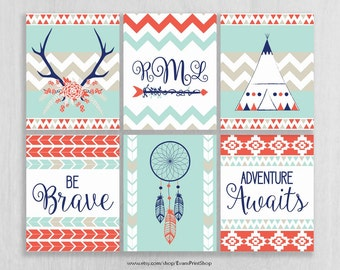 Tribal Nursery Art Prints Set of 6 - Boho Nursery Decor - Be Brave, Adventure Awaits - Tribal Decor Girl - Woodland Wall Art