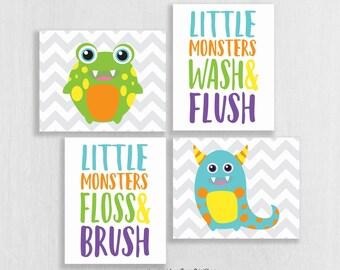 CANVAS Monster Bathroom Decor - Little Monster Bathroom - Wash Brush Floss Flush - Bathroom Rules - Bathroom Art Kids - Bathroom Decor Boy