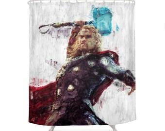 Thor Shower Curtain, Hero Character, Marvel Comics, Avengers Art, Geek Bathroom, Illustration Curtains, Children Decor, Kids Bath Decoration