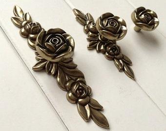 Dresser Knobs Drawer Knob Pulls Pull Handles Rose Flower Antique Bronze / Kitchen Cabinet Knobs Handle Vintage Style Decorative Hardware