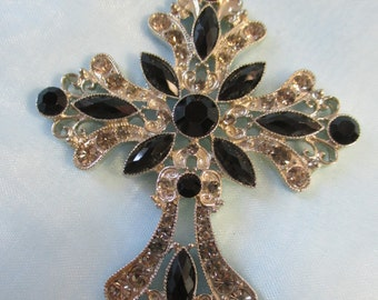 Black and White Jewel Costume Cross Necklace