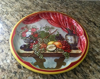 Round vintage metal tray 1970s cool retro design