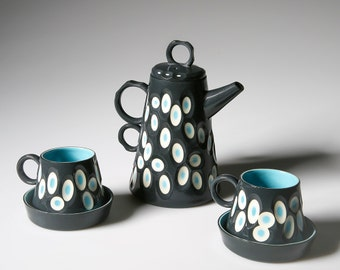 Handmade Coffee Pot with Two Cup & Saucers. Black and Turquoise Slip Cast Porcelain. SOLD OUT