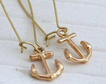 Gold Anchor Earrings .. nautical earrings, long earrings, nautical jewellery,  gold jewellery