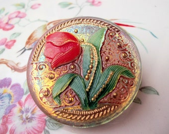 Brosche Gablonzer Knopf handbemalt Tulpe irisierend grün rot vintage Gablonzer Glas romantische Brosche Anstecknadel