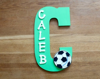 Soccer Name Sign for a wall or door, boys wooden name sign, soccer decor, soccer sign, personalised name sign, soccer gift,