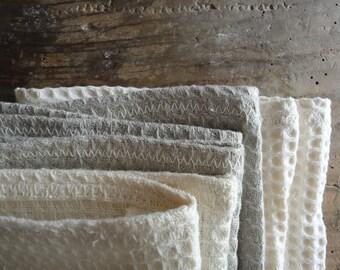 SOFT natural wash cloth, handmade from natural linen, hemp or organic cotton