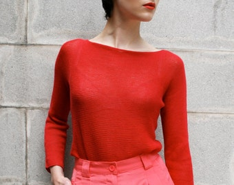 100% Cotton Loose Knit Sweater, Pullover, Top, T-Shirt, Tunic, Poppy Red, Slash-Neck, Sheer, 3/4 Sleeved Knitted Hand-Made
