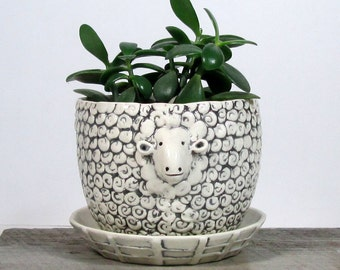 Sheep planter with overflow saucer Wedding Gift Hotess Gift Ready to ship