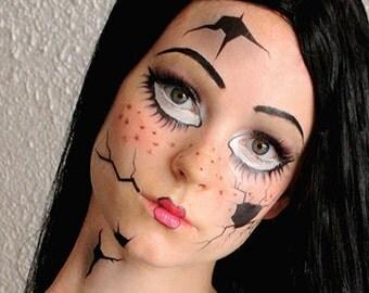 Broken Doll  - Temporary Makeup Tattoos - Halloween 2013