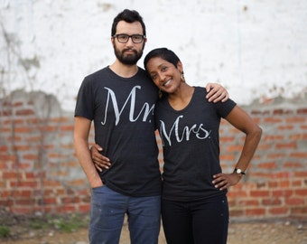 Mr and Mrs Tshirt Set, Engagement Gift for Couples, Matching Shirts Bride and Groom, His and Hers Shirts, Couples Shirts Wedding Day Gift