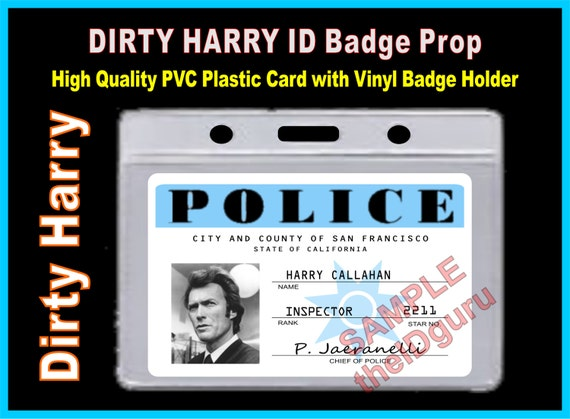 Dirty Harry Harry Callahan Id Badge Card Prop With Vinyl