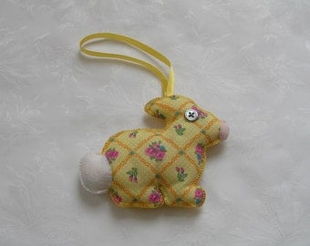 yellow rabbit, rabbit lover gift, hand stitched, scented decoration, nursery decoration, bunny, teachers gift, birthday gift