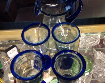 Mexican hand blown pitcher and glasses