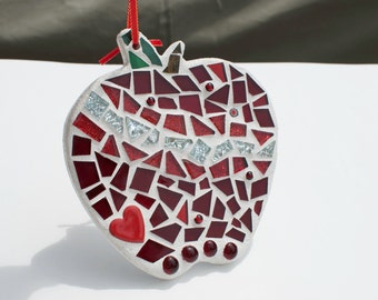 Stained Glass Mosaic Apple, Ornament, Home Decor Accent, Back to School, Christmas Ornaments, Apple Decor