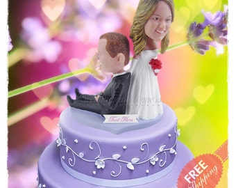 Funny wedding cake topper Unique wedding cake topper Custom cake topper Bride and groom cake toppers Wedding topper Personalised cake topper