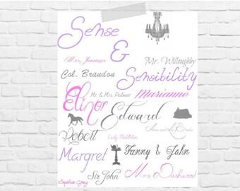 Jane Austen Sense and Sensibility Character Print   Digital Download