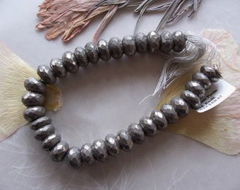 "Pyrite Gemstone Faceted Chunky Rondelle Beads ~ 7"" Strand ~ 9mm"
