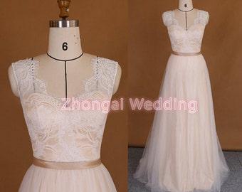 Wedding dress, lace wedding dress , chamgagne lining wedding dress,slim-line wedding dress, long wedding dress, V-neckline wedding dress