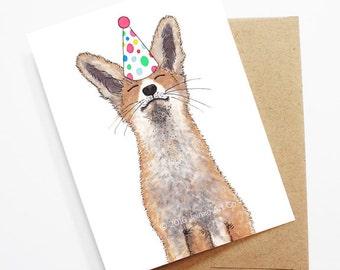 Birthday Card - Fox, Animal Birthday, Animal Card, Cute Greeting Card, Kids Birthday Card, Baby Birthday Card, Fox Birthday, Fox Card
