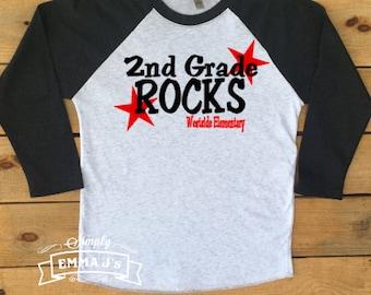 Custom shirt, 2nd grade rocks, 1st grade rocks, 3rd grade, Kindergarten, teacher shirt,  teacher gift, teacher, back to school, baseball