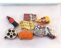I Heart/ Love the Movies 7pc Floating Charm Set fits Living Memory Floating Locket Necklace Jewelry Popcorn Candy Ticket