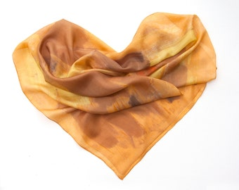 Silk scarf Golden Ochre. Hand painted scarf. Long abstract silk scarf. Autumn silk scarf in golden ochre, brown and taupe. Christmas gift