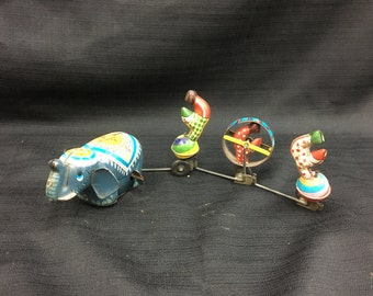 1960's TPS Circus Parade Tin Push Toy ~ Elephant with Clowns- Japan