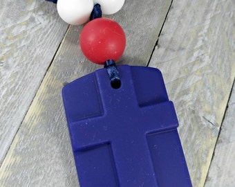 Cross teether pendant * baby shower gift * baby teether * red, blue teether * cpsia compliant