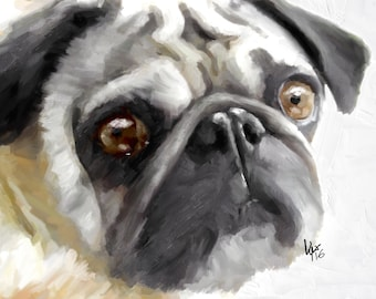 Pug Art Print Dog Art Pug painting Pug art print pug wall art pug poster dog print dog pug decor pug gift pug dog art dog art print dog