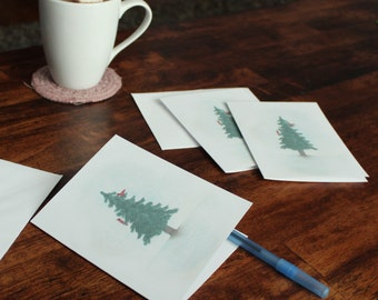 Christmas Note Cards - Evergreen Tree - Christmas Tree - Christmas Card Set - Holiday Card Set - Blank Note Cards - Note Card with Envelopes