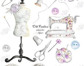 Watercolor Clip Art, vintage Sewing, Sewing Machine, Needle, Thread,Scissors, Thimble, Pin Cushion, Buttons, dress form, fabric roses
