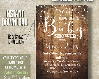 Baby Shower Invitation, Instant Download Invite, Printable Editable PDF file A445