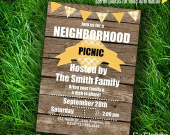 Instant Download Neighborhood Picnic Invitation Editable Printable Invite You type your own text at home - PDFfile A080