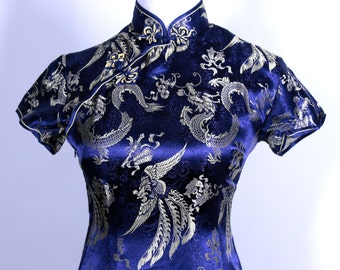 Vintage SolZ Squirrel Dress Asian Blue metallic Gold Hangzhou China