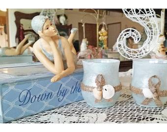 hand-painted, glass votive candleholders, seashells, seashore