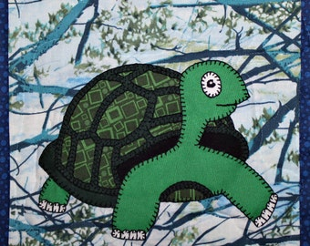 Turtle or tortoise or terrapin PDF applique pattern; whimsical  baby or child's quilt pattern; zoo or forest animal quilt applique pattern;