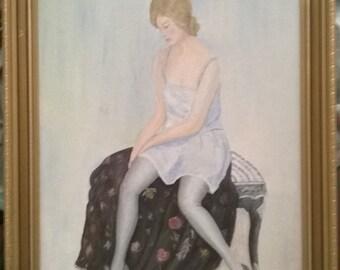 1993 Cornish BALLET Oil Painting, Gilt-Framed, Charming!