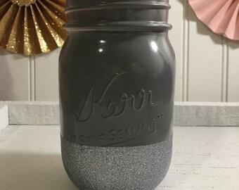 Gray Glitter Dipped Mason jar , Wedding , Home Decor , Office Decor , Bridal shower