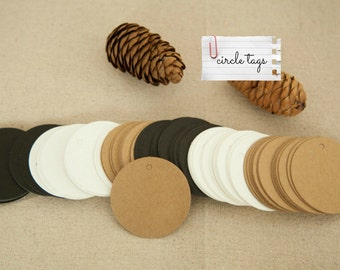 40 pcs scallop hang tags, kraft paper gift tags, name card tags, swing tags, label tags - 5 x 5cm