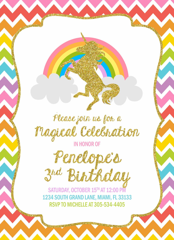 Unicorn Invitation, Unicorn Birthday Invitation, Rainbow Unicorn ...