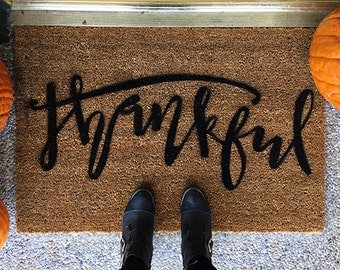 Thanksgiving Doormat- Thankful- Hand Painted